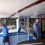 AYB replaces the frames and glass windows in the aft enclosure of this 108' boat built by Burger Boat Company.