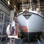 AYB services many Nordhavns year round. Bruce and his paint shop are preparing the hull side of this 40' vessel for a full paint job. The customer requested Awlcraft 2000 for the finishing coat.